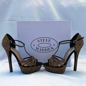 Black/Gold rhinestone Steve Madden Heels 8.5